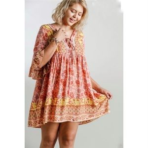 Umgee Pink Paisley Flutter Sleeve Baby Doll Dress